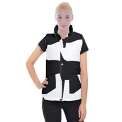 Greyhound Silhouette Women s Button Up Puffer Vest