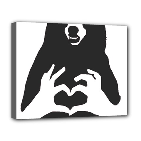 Love Bear Silhouette Deluxe Canvas 20  x 16