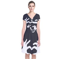 Love Bear Silhouette Short Sleeve Front Wrap Dress
