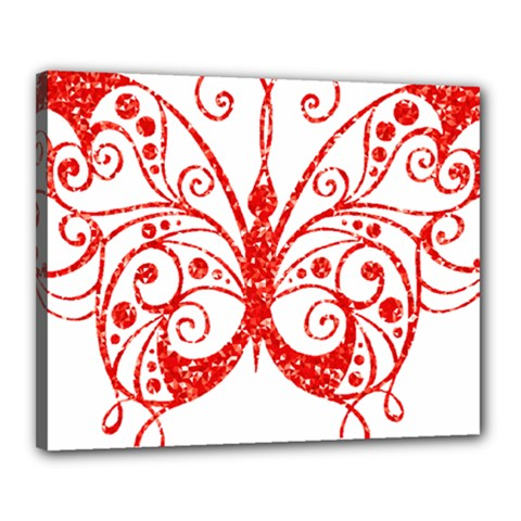 Ruby Butterfly Canvas 20  x 16