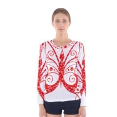 Ruby Butterfly Women s Long Sleeve Tee