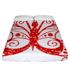 Ruby Butterfly Fitted Sheet (Queen Size)