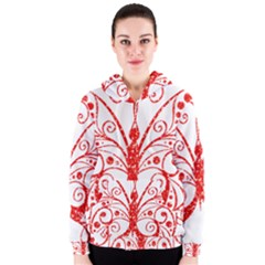 Ruby Butterfly Women s Zipper Hoodie