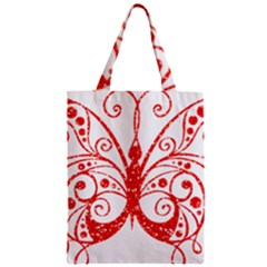 Ruby Butterfly Zipper Classic Tote Bag