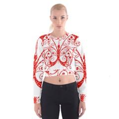 Ruby Butterfly Cropped Sweatshirt