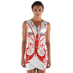 Ruby Butterfly Wrap Front Bodycon Dress