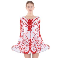 Ruby Butterfly Long Sleeve Velvet Skater Dress