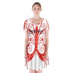 Ruby Butterfly Short Sleeve V-neck Flare Dress