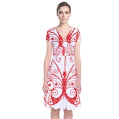 Ruby Butterfly Short Sleeve Front Wrap Dress