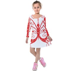 Ruby Butterfly Kids  Long Sleeve Velvet Dress