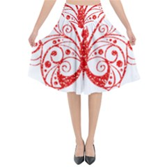Ruby Butterfly Flared Midi Skirt