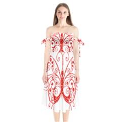 Ruby Butterfly Shoulder Tie Bardot Midi Dress