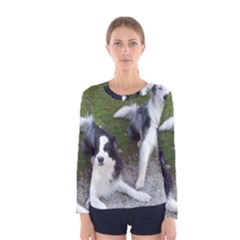 2 Border Collies Women s Long Sleeve Tee