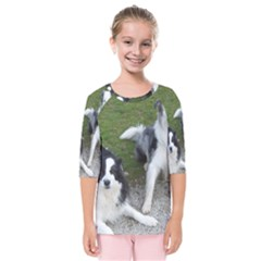 2 Border Collies Kids  Quarter Sleeve Raglan Tee