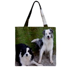 2 Border Collies Zipper Grocery Tote Bag