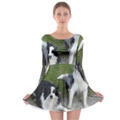 2 Border Collies Long Sleeve Skater Dress