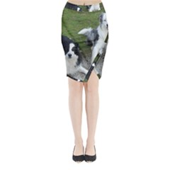 2 Border Collies Midi Wrap Pencil Skirt