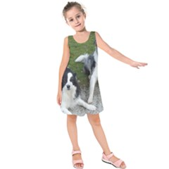 2 Border Collies Kids  Sleeveless Dress
