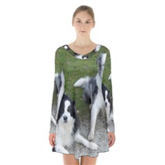 2 Border Collies Long Sleeve Velvet V-neck Dress