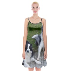 2 Border Collies Spaghetti Strap Velvet Dress