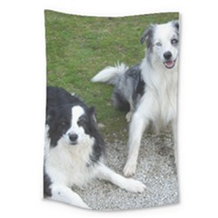 2 Border Collies Large Tapestry