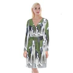 2 Border Collies Long Sleeve Velvet Front Wrap Dress