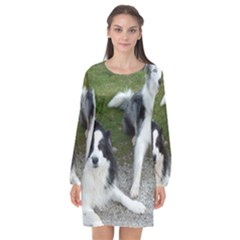 2 Border Collies Long Sleeve Chiffon Shift Dress