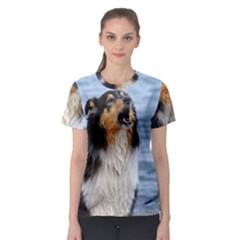 Black Tri Border Collie Wet Women s Sport Mesh Tee
