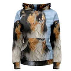 Black Tri Border Collie Wet Women s Pullover Hoodie