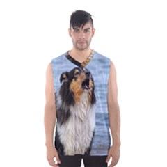 Black Tri Border Collie Wet Men s Basketball Tank Top