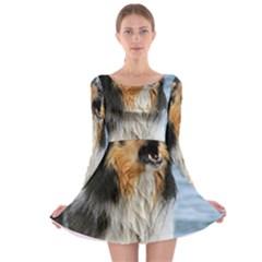 Black Tri Border Collie Wet Long Sleeve Skater Dress