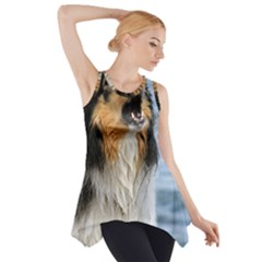 Black Tri Border Collie Wet Side Drop Tank Tunic