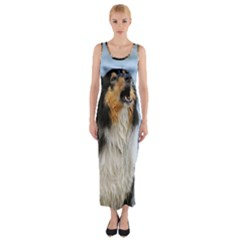 Black Tri Border Collie Wet Fitted Maxi Dress