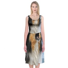 Black Tri Border Collie Wet Midi Sleeveless Dress