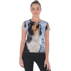Black Tri Border Collie Wet Short Sleeve Sports Top