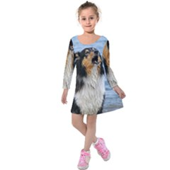 Black Tri Border Collie Wet Kids  Long Sleeve Velvet Dress