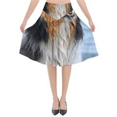 Black Tri Border Collie Wet Flared Midi Skirt