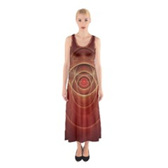 The Rusty Red Fractal Scarab of Fiery Old Man Ra Sleeveless Maxi Dress