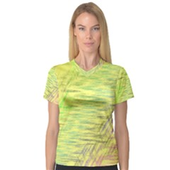 Paint on a yellow background                        Women s V?-Neck Sport Mesh Tee