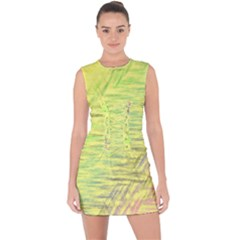 Paint On A Yellow Background                            Lace Up Front Bodycon Dress