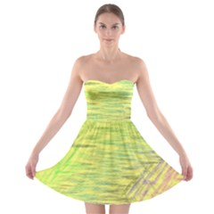 Paint on a yellow background                        Strapless Bra Top Dress