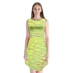 Paint on a yellow background                   Sleeveless Chiffon Dress