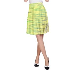 Paint on a yellow background                        A-line Skater Skirt