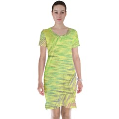 Paint On A Yellow Background                        Short Sleeve Nightdress