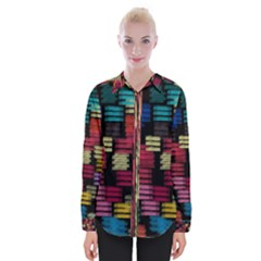 Colorful Horizontal Paint Strokes                    Women Long Sleeve Shirt