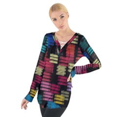 Colorful Horizontal Paint Strokes                          Women s Tie Up Tee