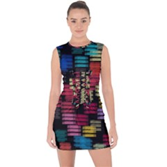 Colorful Horizontal Paint Strokes                             Lace Up Front Bodycon Dress
