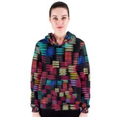Colorful horizontal paint strokes                         Women s Zipper Hoodie
