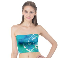 Blue watercolors circle                     Women s Tube Top