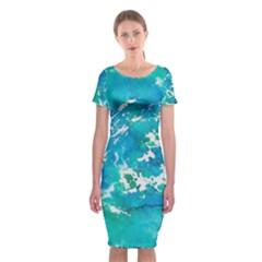 Blue Watercolors Circle                    Classic Short Sleeve Midi Dress